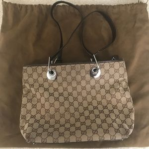 Authentic Gucci Shoulder Bag with Zipper in Canvas